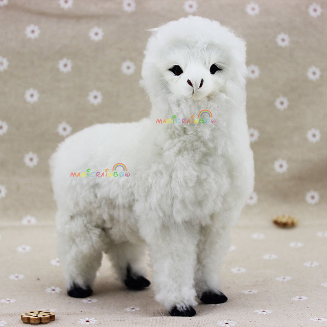 furry mini alpaca llama lama pacos ornament decoration adornment fleece wool christmas teaching cognitive model h