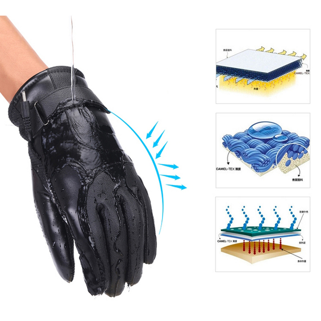 Winter Heated Gloves Warmer Electric Thermal Gloves Cycling Motorcycle Bicycle Skiing Gloves Unisex ON/OFF Switch With LED 3