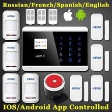 Kerui teclado táctil de cuatro bandas TFT Dislay inalámbrica GSM PSTN casa de seguridad de voz de alarma antirrobo IOS Android APP control remoto