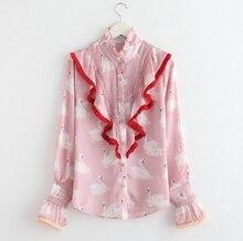 2017 Spring New Ladies Tassel Fringed Swan Printed Blouse Outfit Shirts Women Long Sleeved Ruffled Collar Blusas Basic Tops