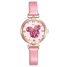 Disney Mickey Mouse original woman watches luxury pink rose gold leather quarter ladies clocks 30m waterproof diamond number