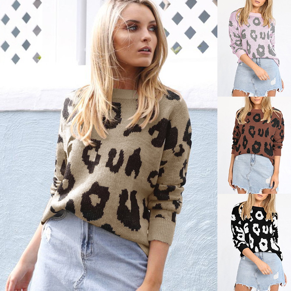 2019 winter and autumn leopard pullover woman sweater cute European style long sleeve o-neck casual knit female sweater