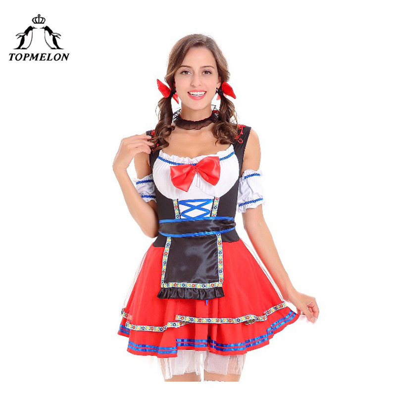 TOPMELON Clothes Peasant Cosplay Uniform Women Halloween Holiday Shows Plays Costume Red Lace Up Bodice Irish Cotton Mini Dress