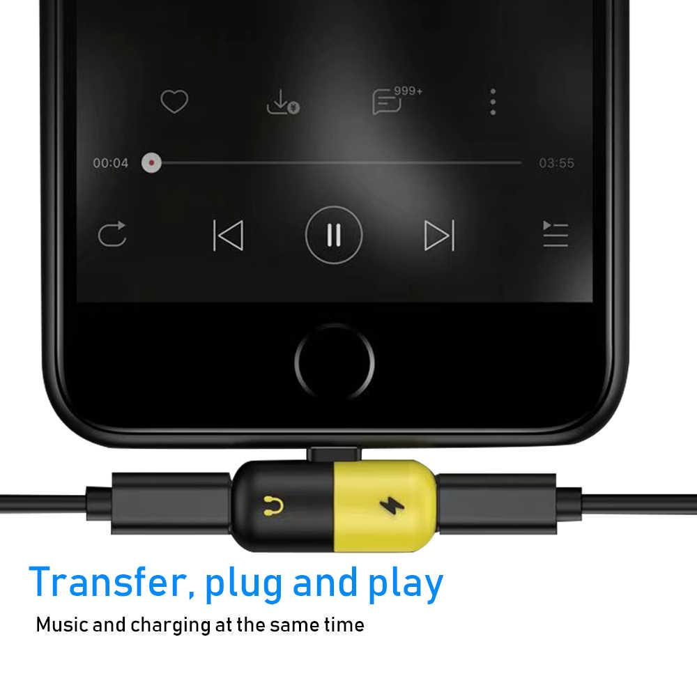 شيري 2 في 1 المزدوج منافذ كابل شاحن الهاتف المحمول سماعة الصوت الموسيقى الدعوة محول الشحن ل فون 8 زائد X XS ماكس XR
