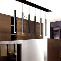 6CM diameter Black LED lamp chandelier creative long cylindrical hotel restaurant bar sets jewelry showcase single head lamps