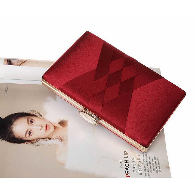 Женский кошелек и сумочка для свадьбы, элегантные шелковые красные вечерние сумки с цепочкой, модные женские сумки на плечо, ZD1101