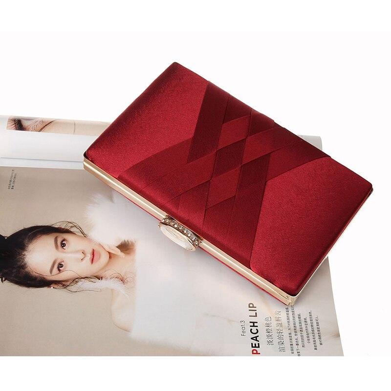 Image 4 - Women Wedding Clutch Purse and Handbag Elegant Silk Red Evening Bag Chain Handbag Fashion Women Shoulder Bag  ZD1101Top-Handle Bags   -