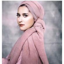Miya Mona Đồng Bằng Cotton Nữ Hijabs Nữ Thời Trang Ấm Làn Sóng Nhăn Hồi Giáo Bọc Hijab Rắn Đơn Giản Đồng Bằng Khăn Quàng Khăn Trùm Đầu