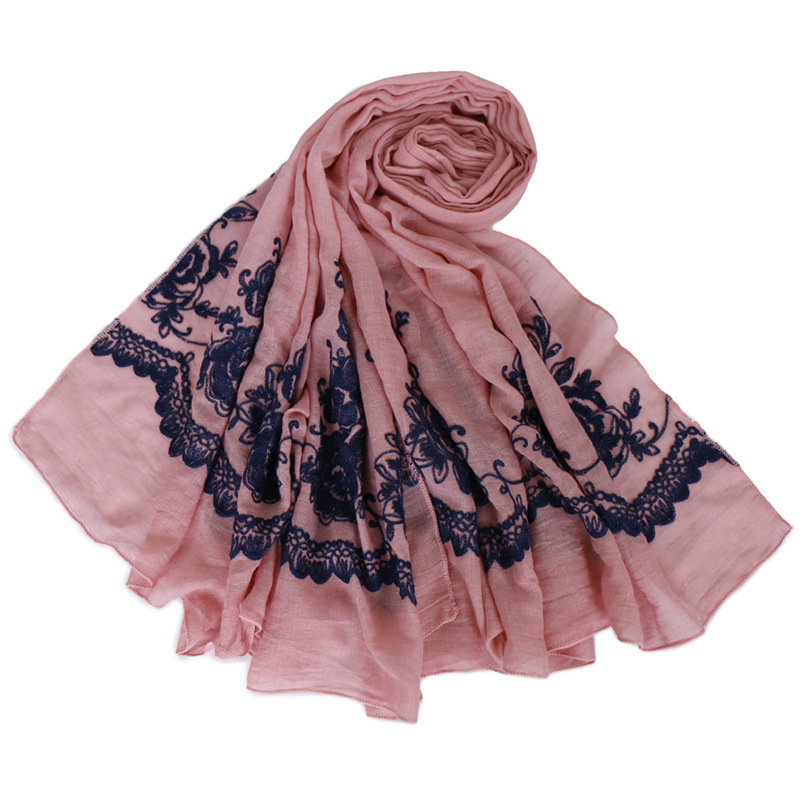 shawl cotton linen scarf flowers embroidery exotic mono long scarf hijabs scarf soft viscose neck stole muslim women headscarf in Women 39 s Scarves from Apparel Accessories
