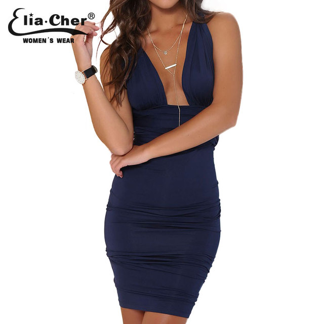Women Dress 2017 Party Dresses Eliacher Brand Casual Plus Size Women Clothing Chic Sexy Navy Blue Wrap Bodycon Dresses vestidos