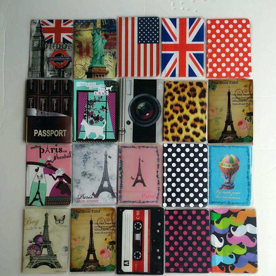 Vintage Passport Cover Travel Business Couples Passport Holder PVC Card ID Holders Passport Package 9.3*13.5CM 35G