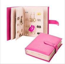 2016 cuero de la Pu Stud pendientes patrón libro portable de la joyería exhibición de la joyería creativa caja de almacenamiento