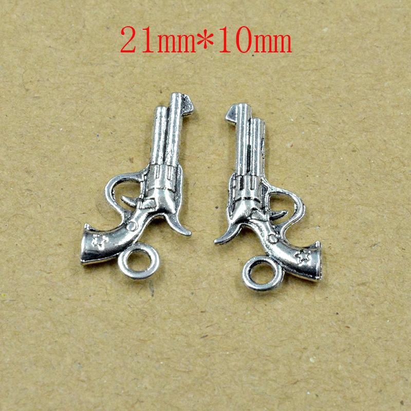 10PCS 21*10mm Charms pistol revolver gun Antique Tibetan silver color Pendant Findings Accessories DIY Vintage Choker Neckla image
