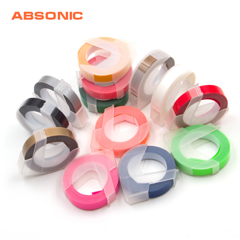 Absonic 16 Colors 9mm*3m 3D Plastic Tape for Embossing Label Maker PVC DYMO M1011