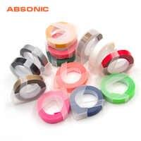 Absonic 16 Colors 9mm*3m Dymo 3D Plastic Dymo Embossing Tape for Embossing Label Maker PVC DYMO M1011 1610 1595 1540 Motex E101