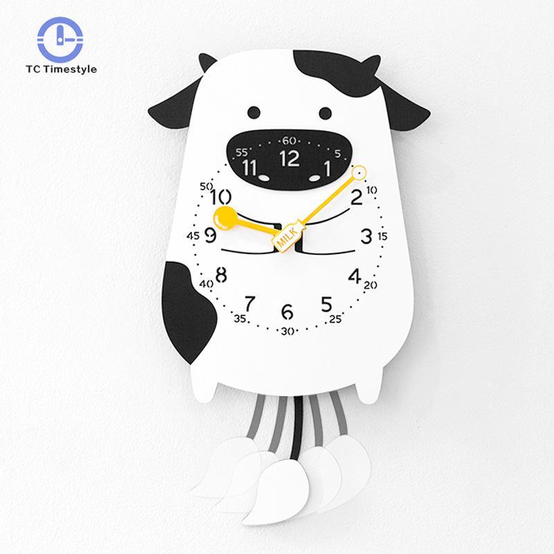 Cartoon Swing Kids Wall Clock Modern Design Home Decor Pendulum Watch Creative Animal Decorative Clocks For