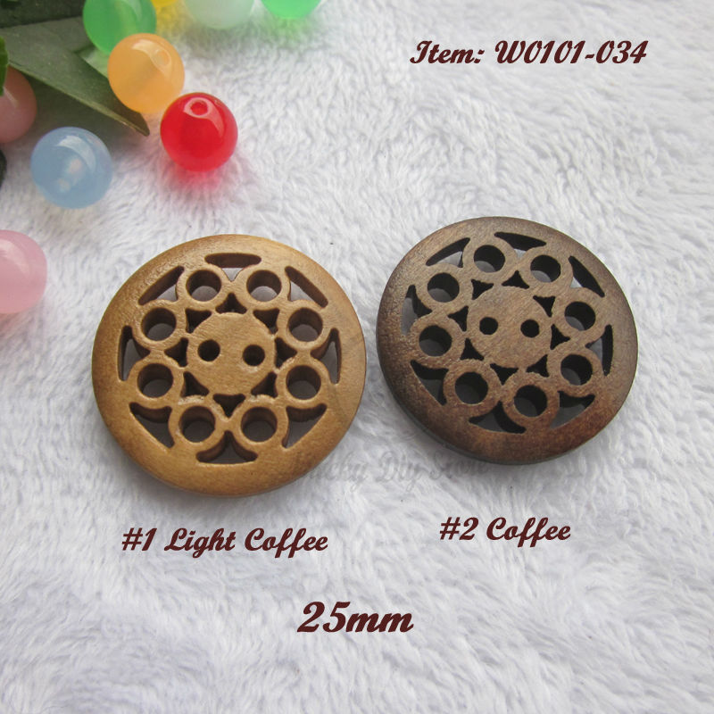 144pcs 25mm (40L) 2 holes Mixed color  1 color Coffee laser carving wooden sewing  buttons for crafts decorative accessories 1e7094260d21