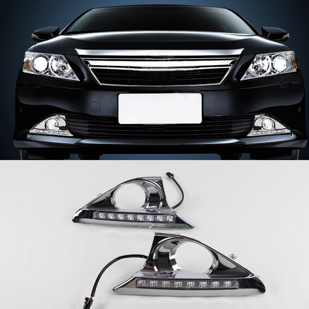 Car LED Daytime Running Lighs Daylight DRL Fog Light Cover With Turn Yellow Signal For Toyota Camry 2011 2012 2013 2014 12V