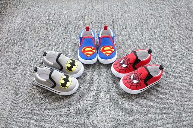 New Brand Baby Boys Fashion Canvas Shoes Flats Kids Platform Sneakers Toddler Superman Cool Spiderman Batman Shoes Wholesale