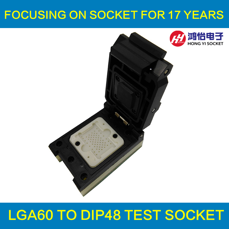 все цены на LGA60 TO DIP48 Pogo Pin Flash Programmer Adapter IC Test Socket LGA60 Burn in Socket Clamshell Structure iphone NAND programmer онлайн