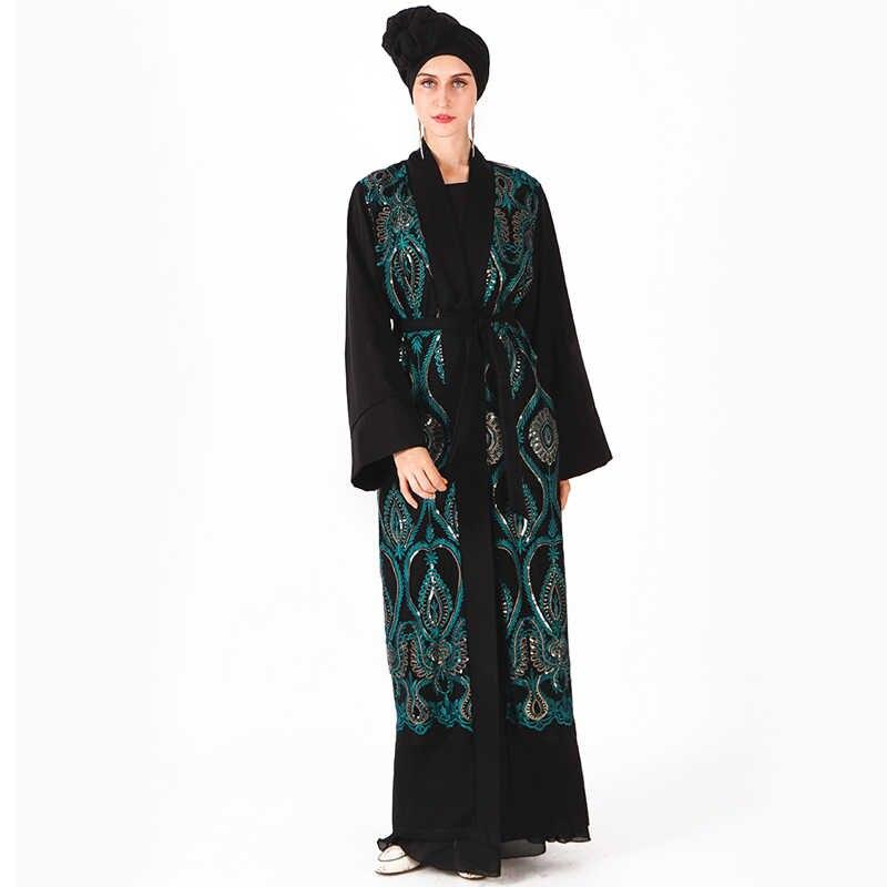 オープンアバヤローブドバイトルコ着物カーディガンイスラム教徒ヒジャーブドレスカフタンイスラム服の女性ラマダン Elbise ため Abayas カフタン