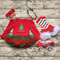 2016 New Arrival Baby Girls Outfits Christmas Baby Kids Boutique Baby Girl Xmas Sets With Necklace