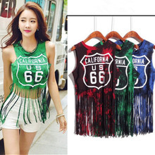 bad9b64422b Women tops hot crop top tassel short tank tops sexy style hip pop tank  female summer