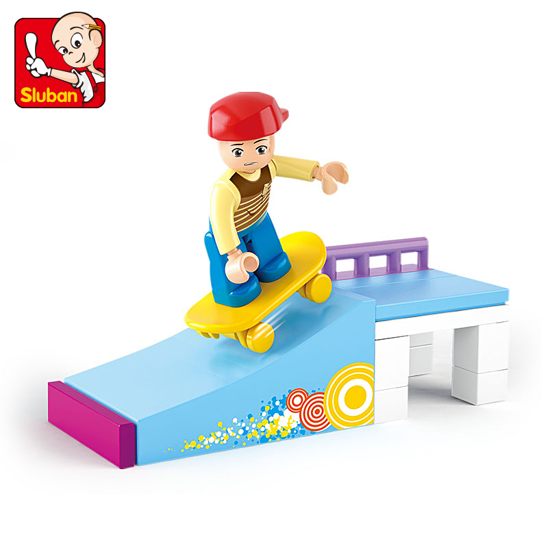 Sluban Building Block Girl Dream Friends Skate Boy 23pcs Dog House 19pcs Educational Bricks Toy-Boy No retail box