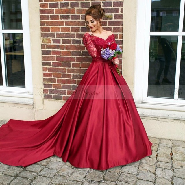 2017 Burgundy Lace Long Sleeve Princess Prom Dresses Wine Red V-Neck  Illusion Back Ball 79cf1390ef24