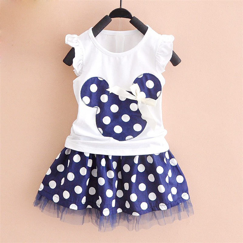 1-4Y Summer Baby Kid Girls Princess Clothes Cartoon Party Mini Dress ball gown dress lace+cotton material Shirt + skirt YYT254