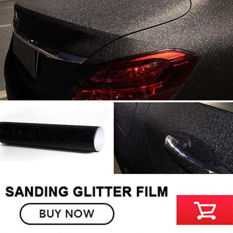 size:1.52x30m(5x98FT ) black Car Styling Glitter Vinyl Film for car vinyl wrapping Matt Sanding glitter vinyl wrap free shipping lc6181 2 ruched wrap midi dress black free size