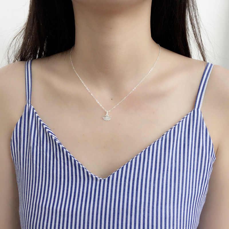 Grosir Perak Segar Alam Ginkgo Daun Kalung 925 Buatan Tangan Kreatif Wanita Liontin Kalung Fashion Perhiasan