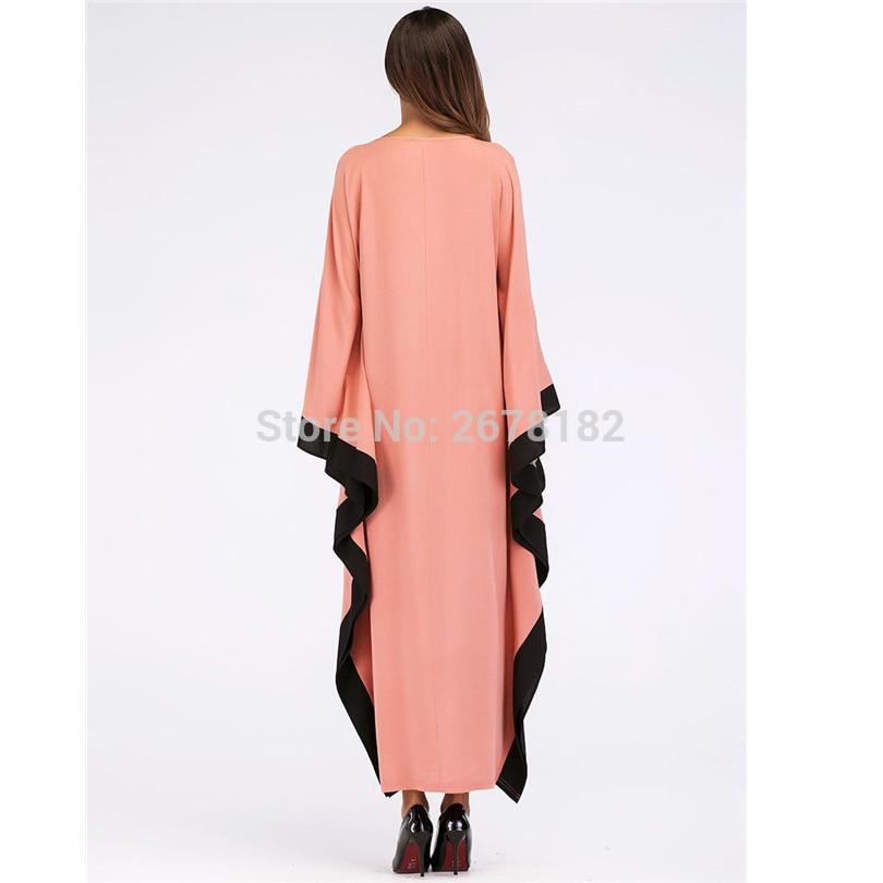 1de620cada Orange Bat Sleeve Islamic Clothes Abaya Clothing Turkish Islamic Clothing  Muslim Women Dress Big Batwing Sleeve Solid Color