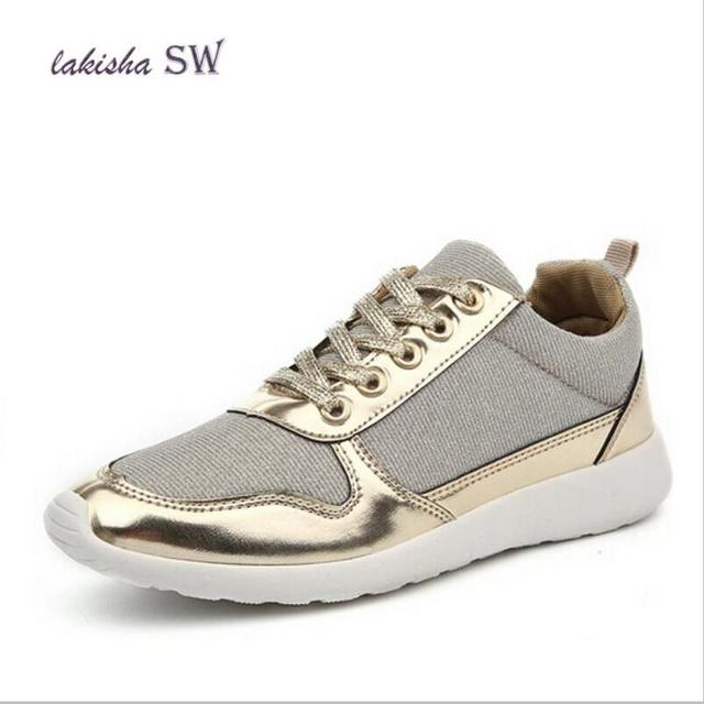 67615c06e098 2018 Spring Mesh Breathable Women Casual Shoes Gold Silver Lace up Flat  Shoes Women Ladies Canvas shoes Plus Size 36-41
