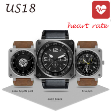 2016 New Vintage US18 Bluetooth Smart Watch Heart Rate Fitness Tracker Remote Camera Twitter Facebook for IOS Android Smartwatch