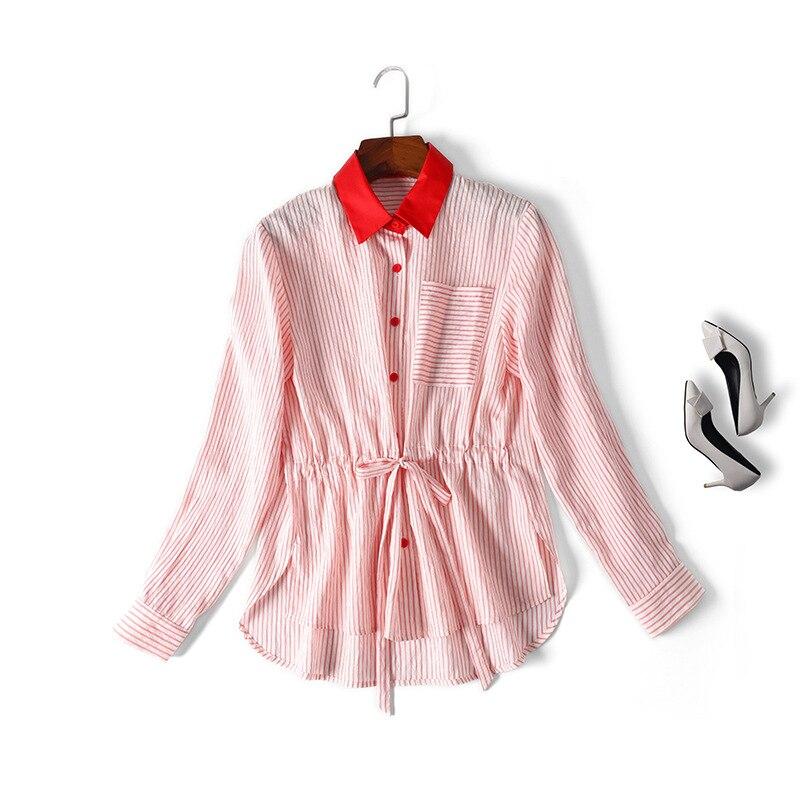 Blouse Femmes Cordons Tops Nouveau Bleu Color Block Down Coton Élégant 2019 See Printemps Été Rouge Rayé Collier rouge Chemises Chart Turn Ifgy7mYvb6