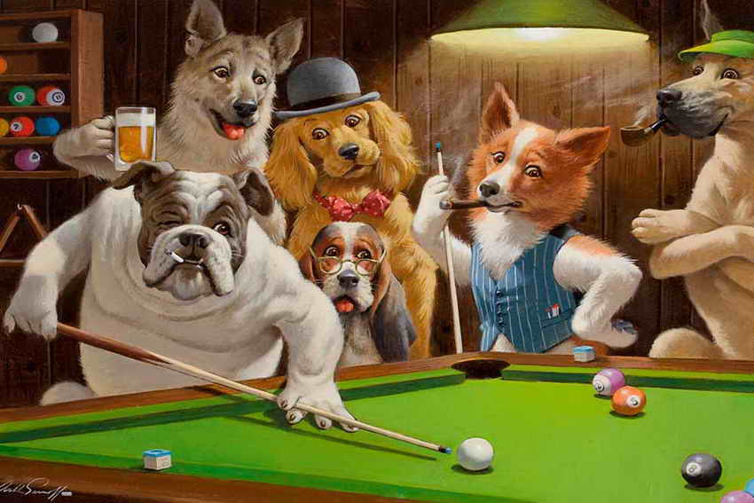 Free Shipping! Home Decor Art Wall Dogs Playing Pool Billiards Oil Painting Picture Printed On Canvas No Frame