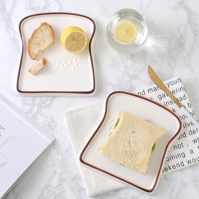 1pc Good Day Toast Shape Porcelain Plates Dishes Food Bread Dessert Tray For Breakfast Dinnerware Kitchen Accessories Tableware