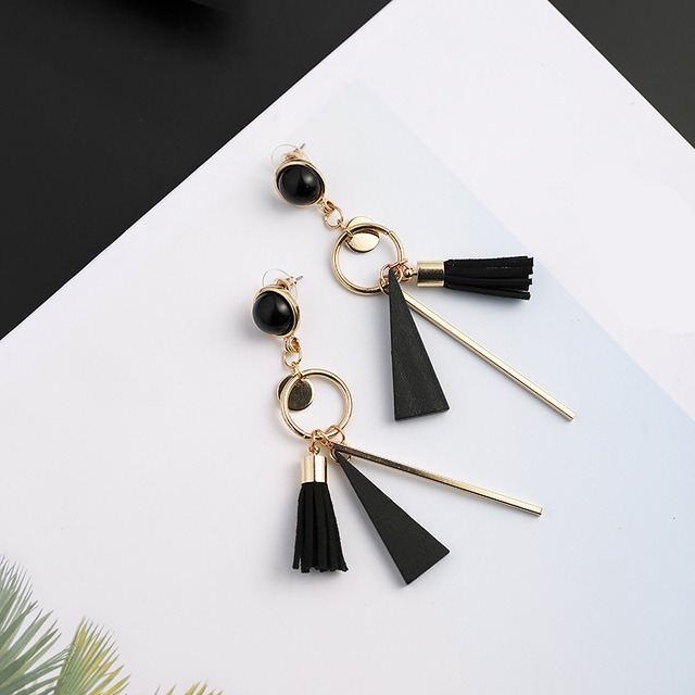 68f8203dd 8Seasons Fashion Women Stud Earrings Black Ball Stud Gold Black Wooden  Pendants Tassel Vintage Jewelry Trendy Accessories,1 Pair