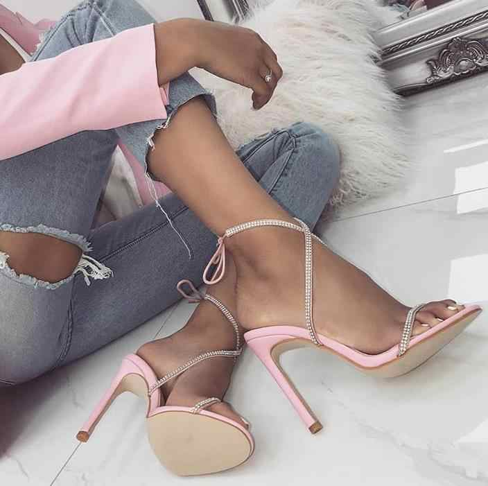 2738b222ed69c Detail Feedback Questions about Boussac Patchwork Rhinestone High Heel  Women Sandals Lace up Cross tie Crystal Heel Sandals Women Sexy Women  Sandals SWC0273 ...