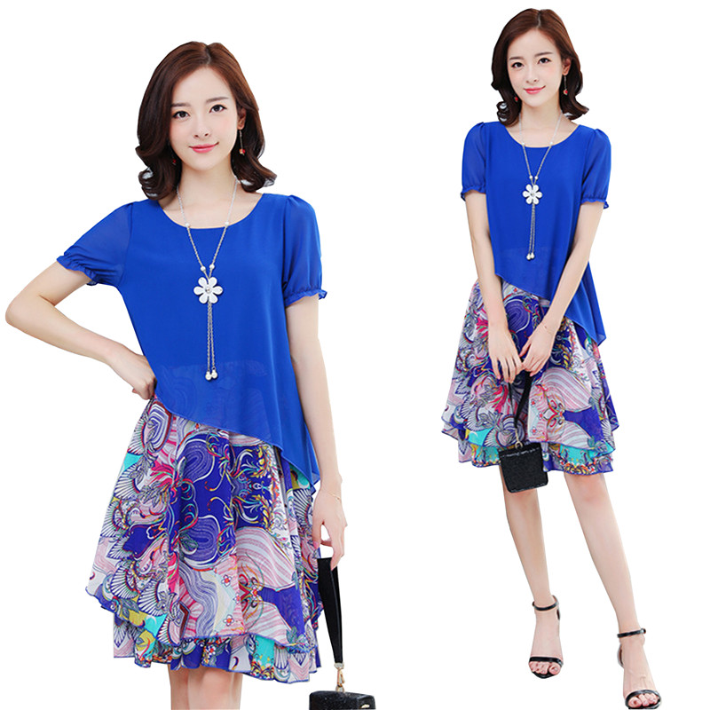 5XL 4XL Summer New Dress 2018 Fashion Women Casual Loose Plus Size Elegant Dress Long Sleeve Irregular Chiffon Dress Dress P59