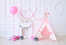 hot deal buy laeacco photo backdrops pink chic wall balloons tent fireplace dessert floral baby birthday party photo backgrounds photo studio