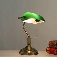 Antique bronze lampes de bureau lampes de table traditionnels lecture vert clair en verre Réglable Tâche Bureau Lampe en laiton éclairage chambre