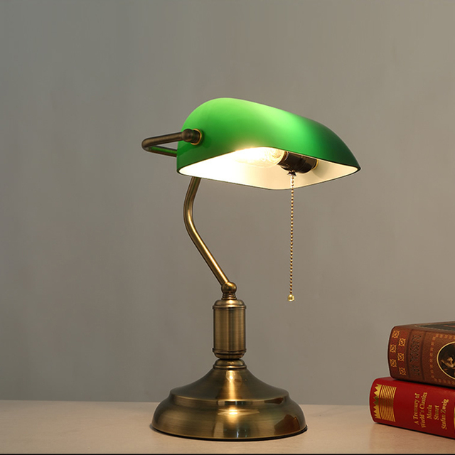 Antique Bronze Desk Lamps Traditional Table Lamps Reading Light Green Glass  Adjustable Task Desk Lamp Brass