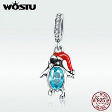 WOSTU Hot Sale 925 Sterling Silver Funny Penguin Dangles Charms Fit Bracelet & Necklace Pendant Original Jewelry Gift DXC993(China)