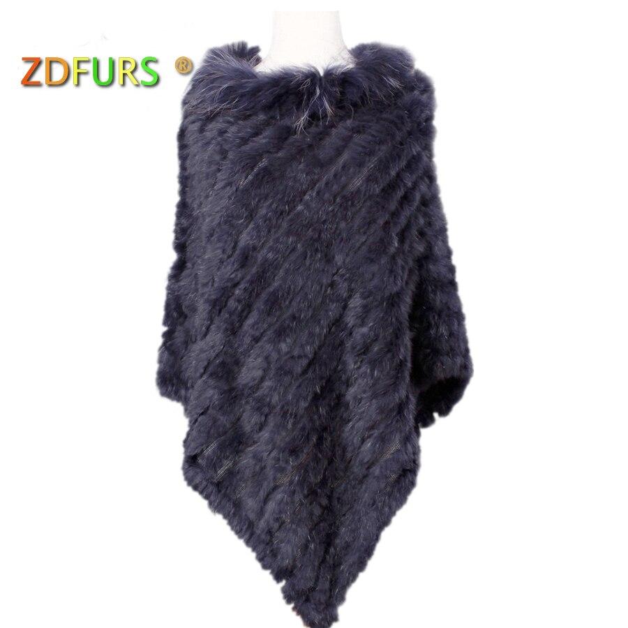ZDFURS * lavorato a maglia reale della pelliccia del coniglio poncho plus size collo di pelliccia di procione assetto strada della moda di stile della pelliccia fili di ordito