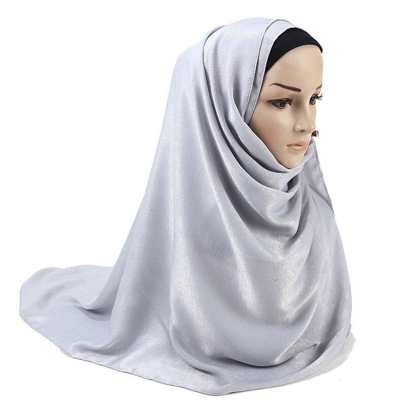 ZFQHJJ High Quality Soft Smooth Silk Velvet Scarf Shawl Women Plain Large Long Head Scarves Wraps Muslim Hijab Tudung 180x75cm