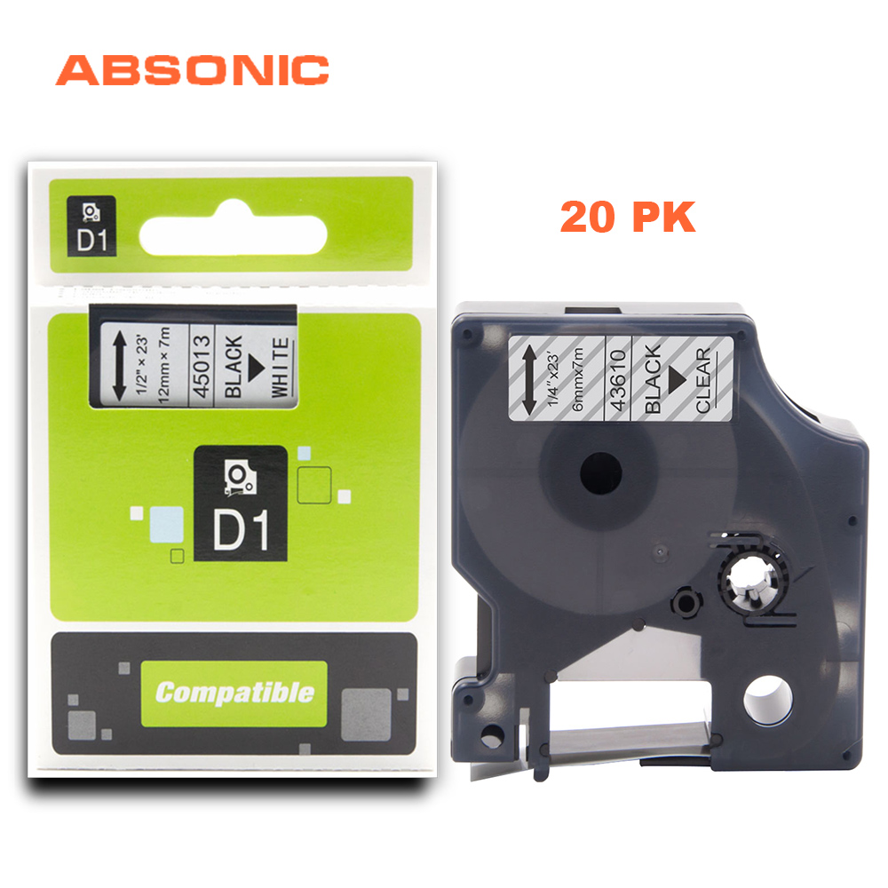 Absonic 20 pièces 6mm * 7 m Recharge Cassette Compatible Dymo D1 43610 Imprimante Ruban Noir sur Clair Étiquette Bande pour LabelManager 160 280