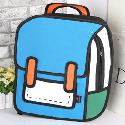 Moonbiffy Fashion Cute Student Bags Women Backpack 3D Jump Style 2D Drawing Cartoon Back Bag Comic Unisex Knapsack Bolos