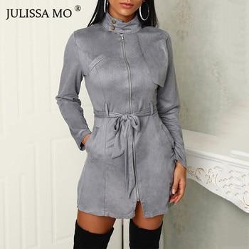 JULISSA MO Suede Leather Vintage Zipper Bandage Dress Women 2018 Autumn Long Sleeve Turtleneck Sexy Mini Party Dresses Vestidos 1